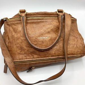 Givenchy Pandora Cognac Distressed Leather Bag